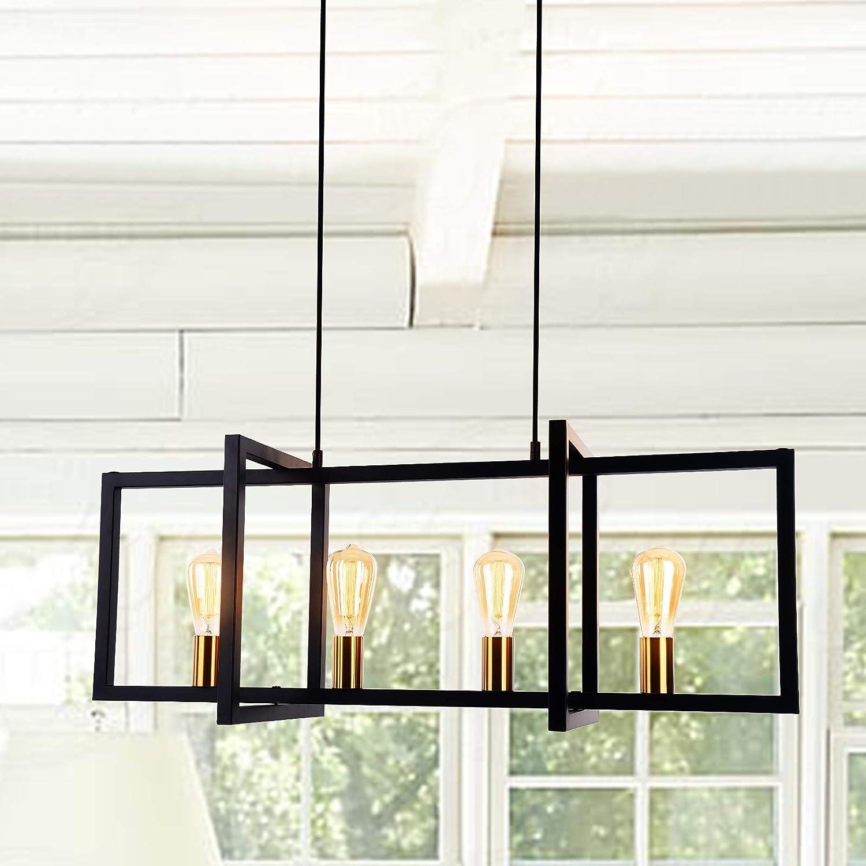 Amazon Com Lingkai Modern Kitchen Island Light 4 Light Pendant Chandelier Ceiling Light Industrial Hanging Light Fixture Matte Black With Antique Brass Finish Home Improvement