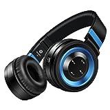 Honstek P6 drahtlose Bluetooth 4.0-Stereo-Kopfhörer, Hifi, faltbar, On-Ear mit Micro, Lautstärkeregler und Audio-Kabel, Unterstützungs-TF-Karte und FM-Radio (Schwarz/Blau)