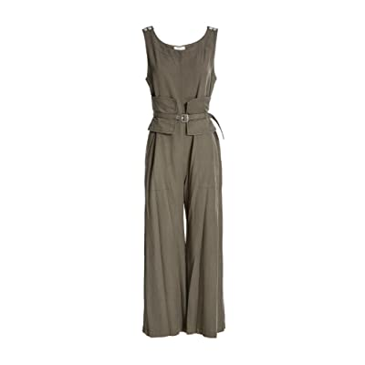 MAXSTUDIO Belted Jumpsuit Womens Romper One-Piece Military: Clothing