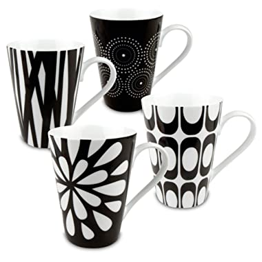 Konitz Assorted Mugs, Black/White, Set of 4