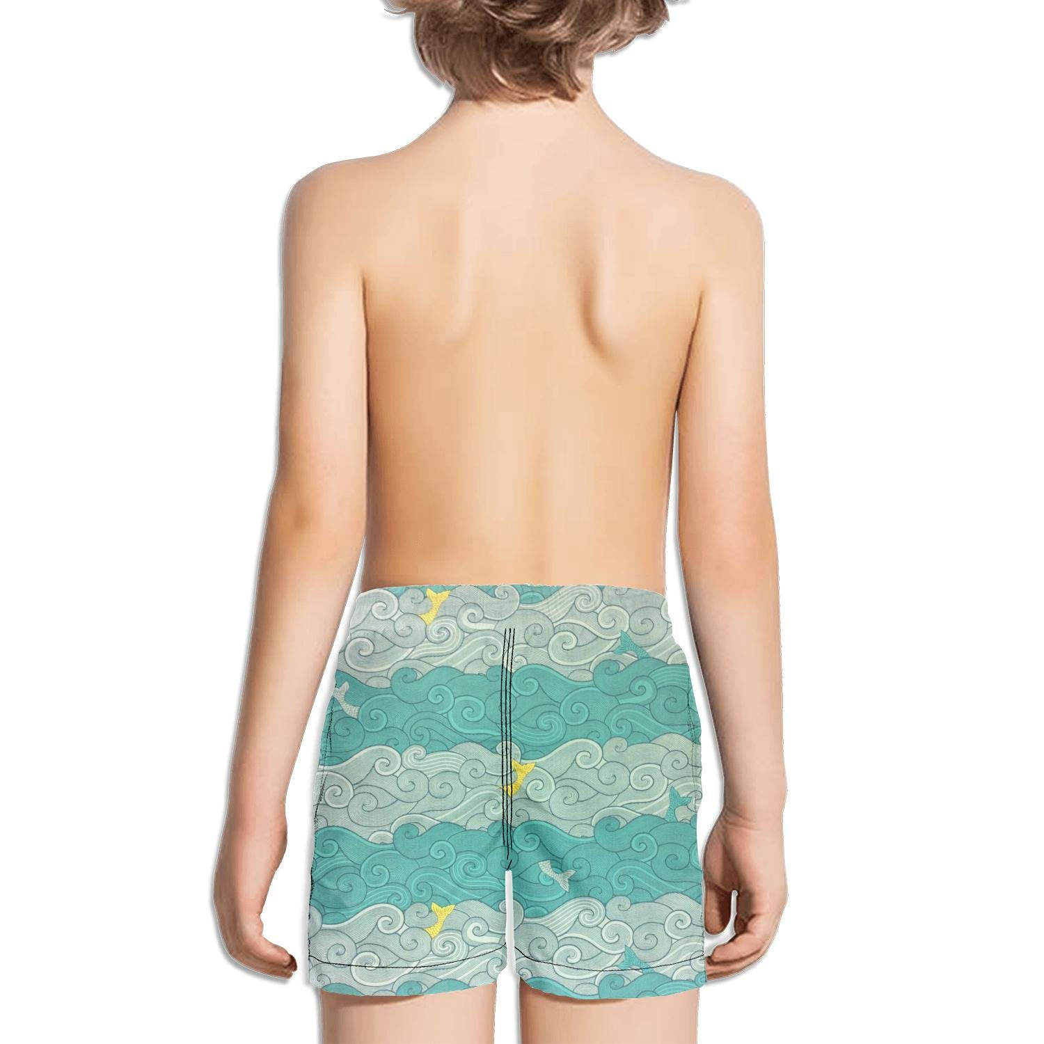 DSDRFE2DEW Swimming Trunks A Big Whale and a lot of Small Whale Solid Shorts for Kidwith Drawstring