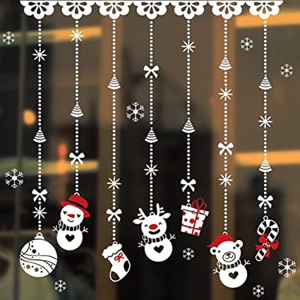 Christmas Window Decals.Cityeast Christmas Window Stickers Removalble Wall Decals Diy Home Decor Glass Door Decal Showcase Stickers Decoration For Christmas New Year Snowman