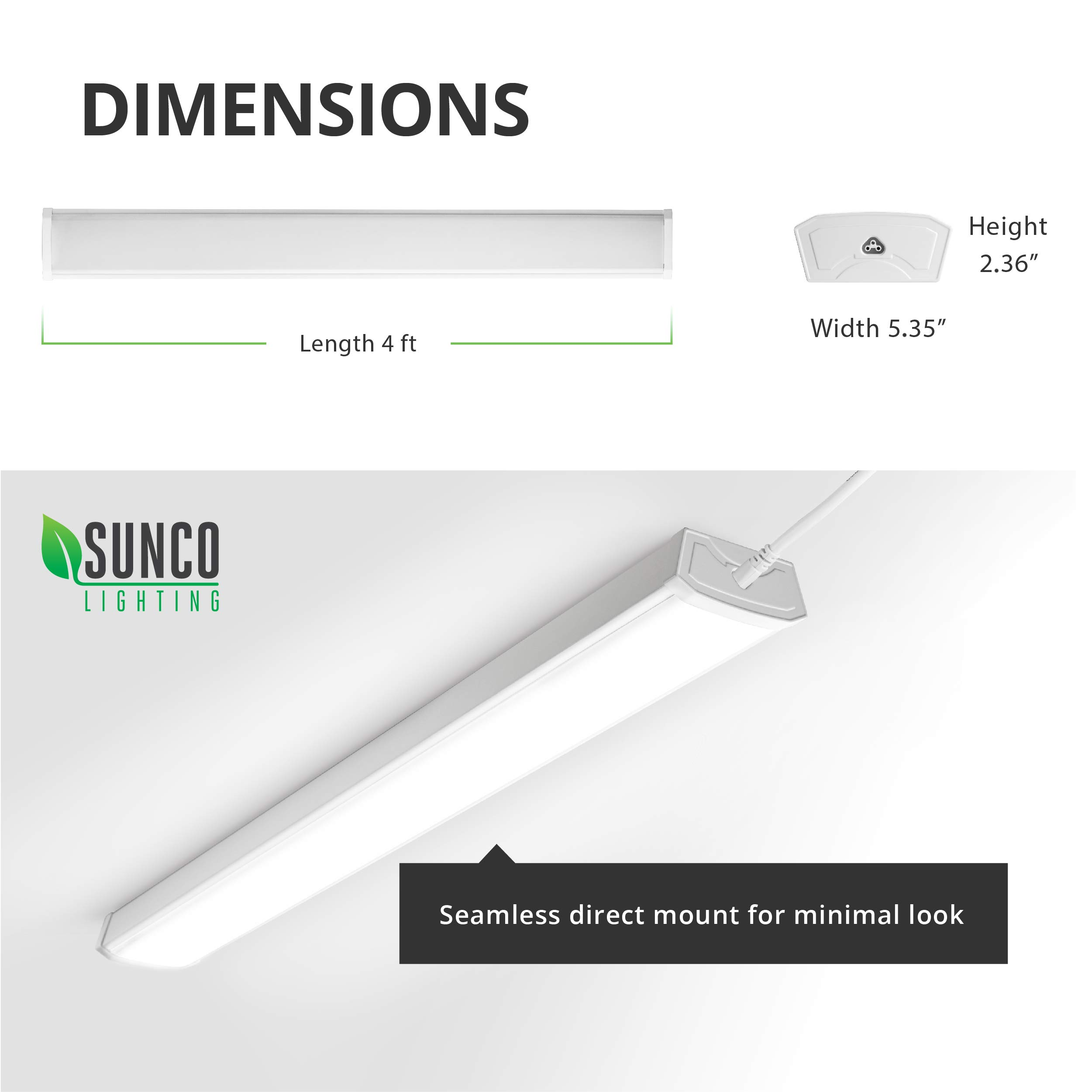 Sunco Lighting 12 Pack Wraparound LED Shop Light, 4 FT, Linkable, 40W=300W, 3500 LM, 5000K Daylight, Integrated LED, Direct Wire, Flush Mount Fixture, Utility Light, Garage- ETL, Energy Star by Sunco Lighting (Image #3)