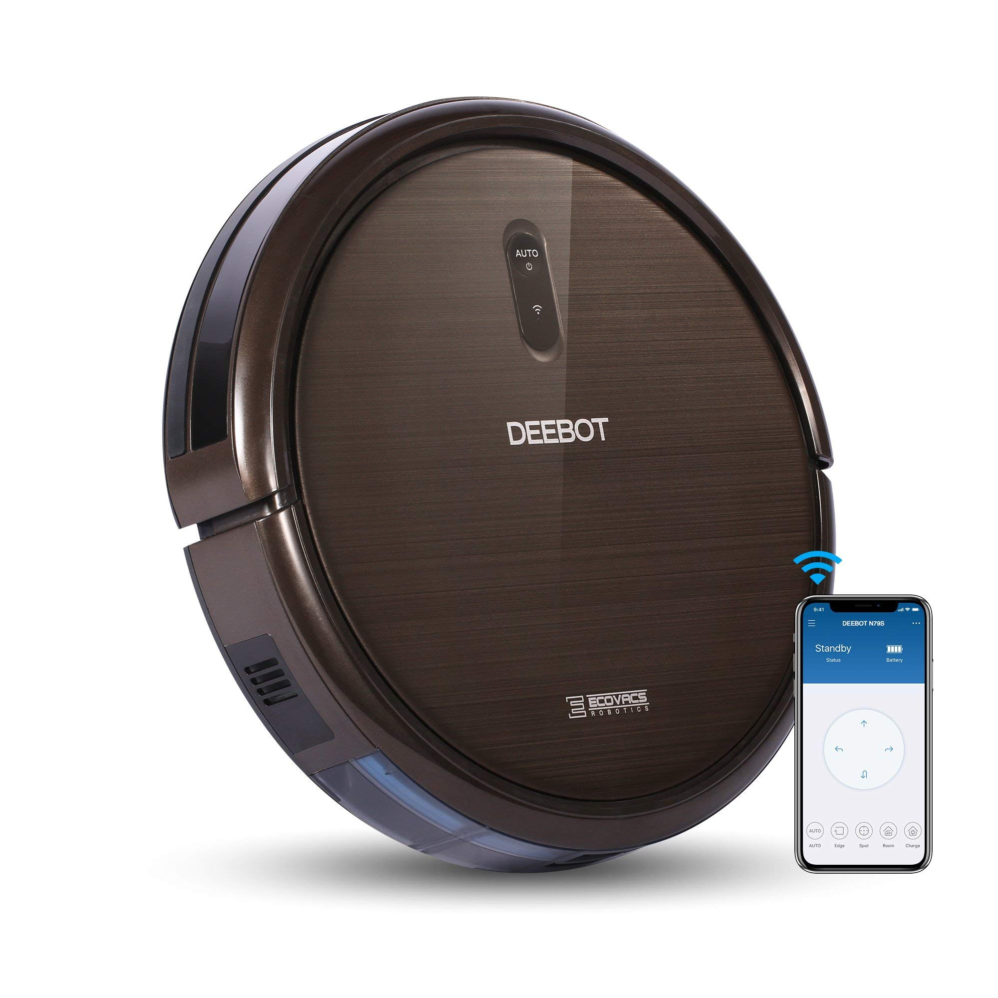 ECOVACS DEEBOT N79S Robot Vacuum Cleaner with Max Power Suction, Alexa Connectivity, App Controls, Self-Charging for Hard Surface Floors & Thin Carpets (Renewed) by ECOVACS