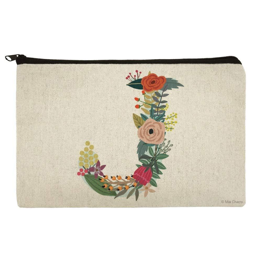 Letter J Floral Monogram Initial Makeup Cosmetic Bag Organizer Pouch
