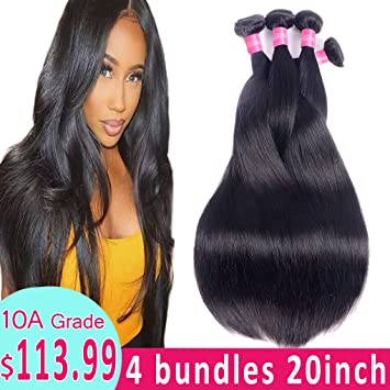 Human Hair Weaves Ishe Straight Hair Bundles Brazilian Hair Weave Bundles 100% Human Hair Bundles Natural Color 10-28 Inch Remy Hair Weave 1 Pcs Selected Material Hair Weaves