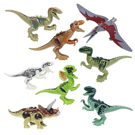 8x Dinosaurs World Brick Blocks: Rex T-Rex Pteranodon Raptor CJ451 by Magic show