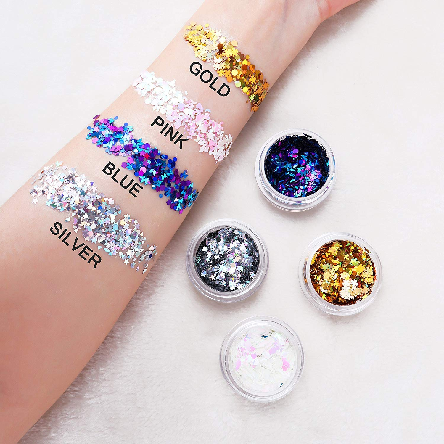 Holographic Chunky Body Glitter 4 Colors Cosmetic Glitters with 2pcs Long Lasting Fix Gel for Festival face Makeup