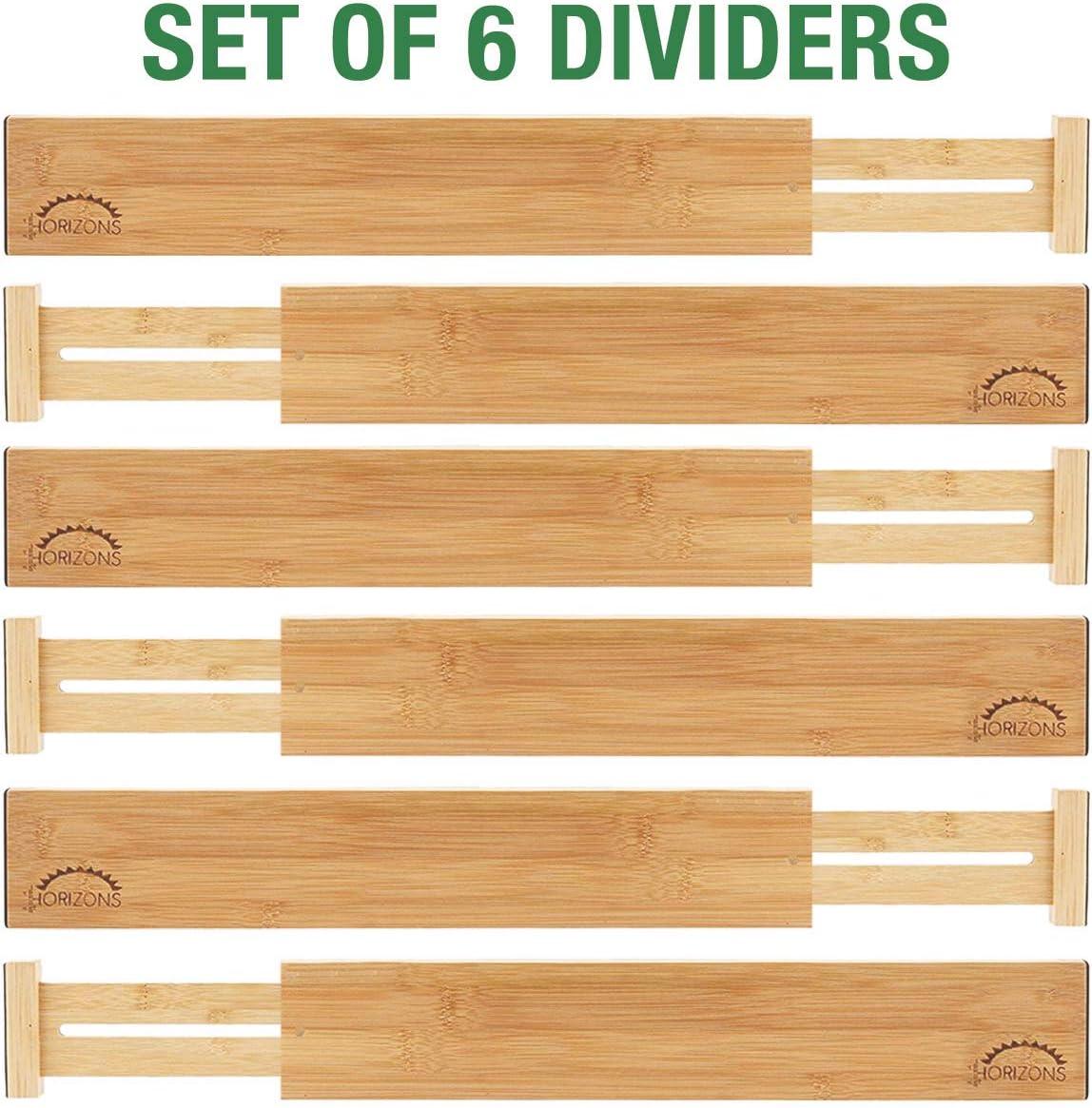 Bamboo Drawer Dividers Set of 6 – Kitchen Drawer Organizers – Spring Adjustable, Expandable Stackable Deep Drawers Organizer – Best for Kitchen Utensils, Silverware, Desk, Clothes Dresser Divider