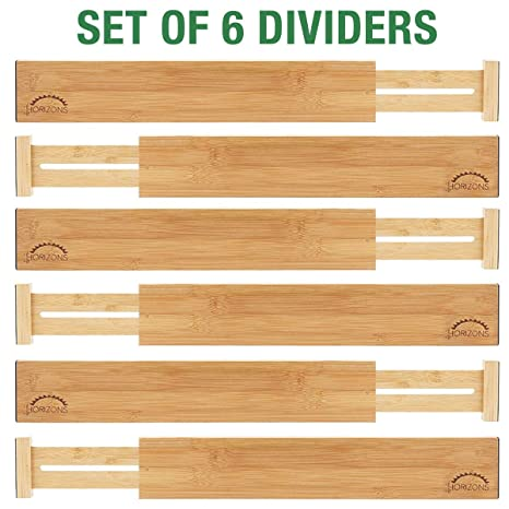 Bamboo Drawer Dividers (Set of 6) - Kitchen Drawer Organizers - Spring  Adjustable, Expandable & Stackable Deep Drawers Organizer - Best for  Kitchen ...