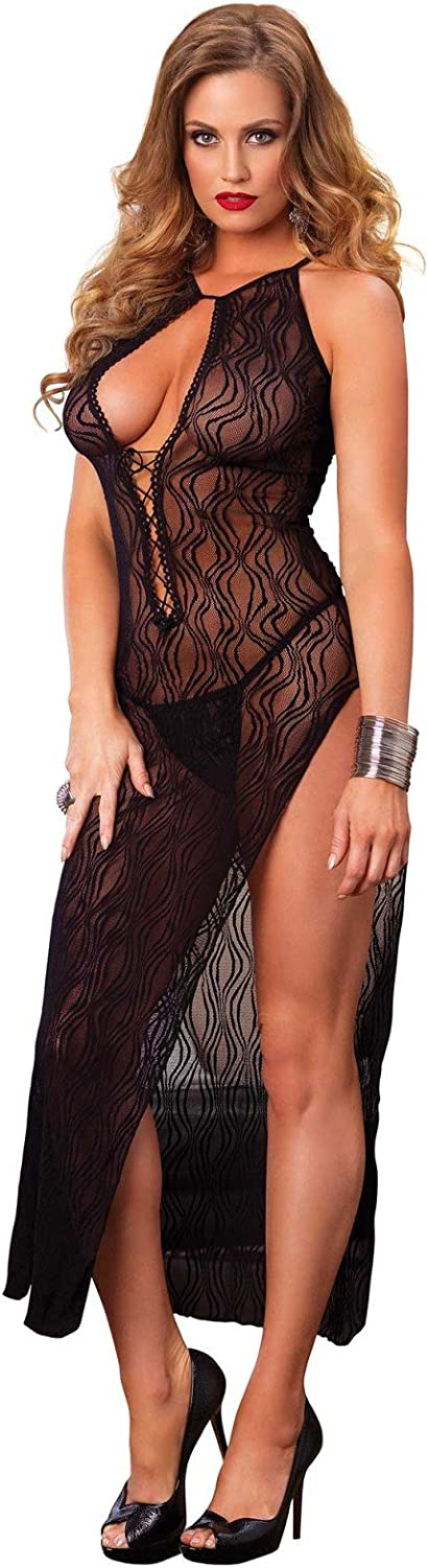 Leg Avenue Women's High Slit Swirl Lace Long Gown and Panty, Black, One Size: Negligees: Clothing