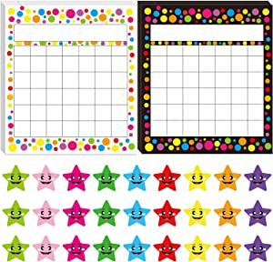 OUNENO Pack of 60 Classroom Incentive Chart, Confetti Themed Sticker Chart with 1350 Star Stickers for Teachers Students (Confetti)