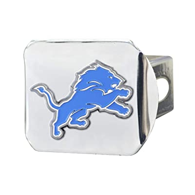 "FANMATS NFL Detroit Lions Metal Hitch Cover, Chrome, 2"" Square Type III Hitch Cover: Automotive"