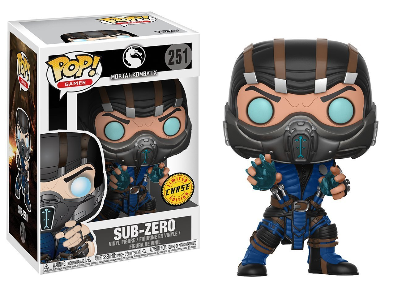 Sub-Zero CHASE Limited Edition Vinyl Figure Funko Pop Bundled with Pop BOX PROTECTOR CASE Games: Mortal Kombat