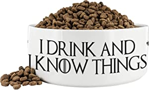 """Awesome eMERCHency I Drink and I Know Things Lannister White Dog Bowl 7"""" x 3"""" Ceramic Dog Bowl/Plate Funny Pet Gift Inspired by Game of Thrones"""