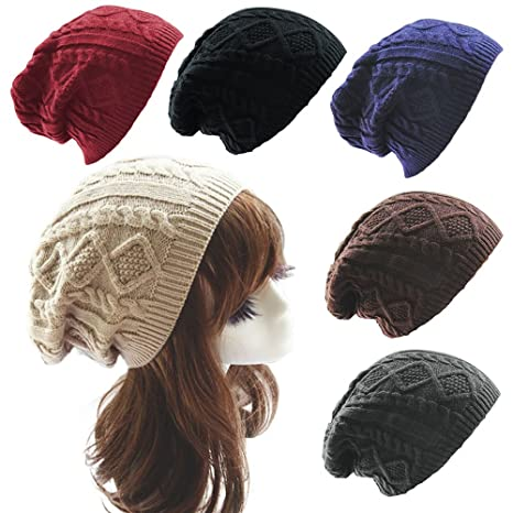 AStorePlus Unisex Fashion Winter Warm Oversized Chunky Cable Knit Baggy  Slouchy Thick Ski Beanie Hat (Coffee) at Amazon Women s Clothing store  755f2530acd5