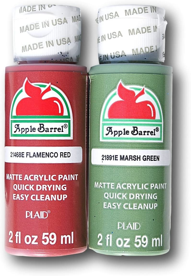 Acrylic Paint Vintage Christmas SetFlamenco Red and Marsh Green - 2 Ounces each