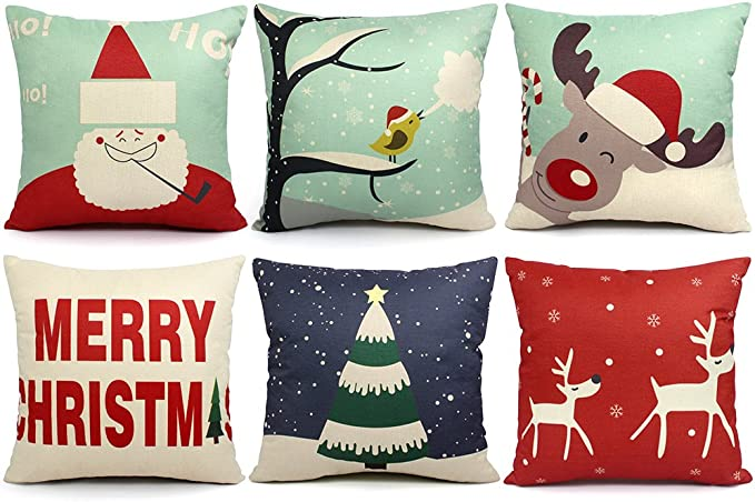 Orwine 6 Packs Christmas Pillows Covers 18x18 Christmas Decorations Pillows Covers Merry Christmas Decorative Throw Pillows Cases Sofa Indoor Home Décor Deer Santa Claus Christmas Tree Home Kitchen