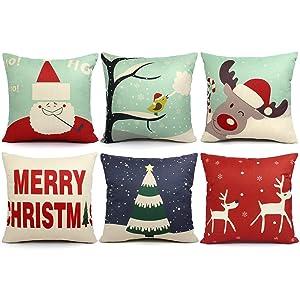ORWINE 6 Packs Christmas Pillows Covers 18x18 Christmas Decorations Pillows Covers Merry Christmas Decorative Throw Pillows Cases Sofa Indoor Home Décor Deer Santa Claus Christmas Tree