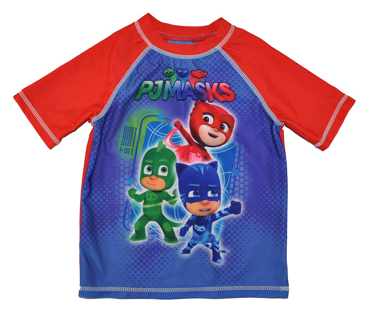 PJMASKS PJ Masks Little Boys Toddler Rash Guard Swimwear Top Blue/Red 2T