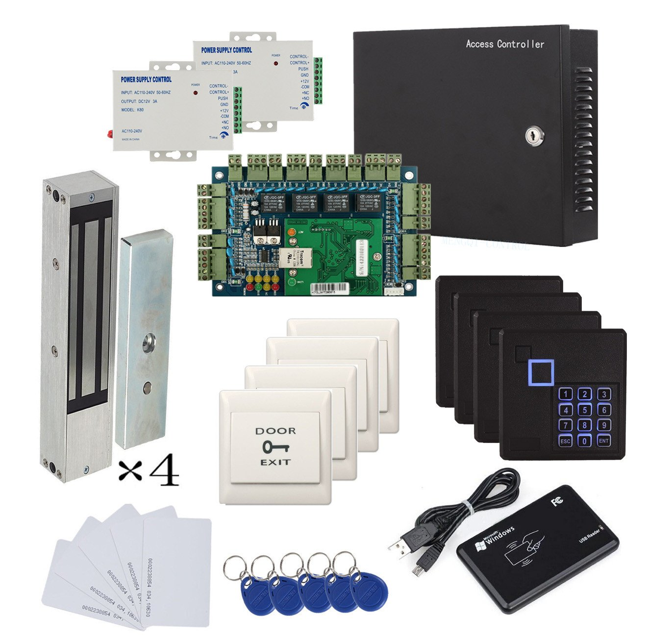 1200lbs Mag Lock Wiegand 4 Door Control Panel System Ceeco Metal Keypad Wiring Diagram Usb Rfid Card Reader Extra Power Unit Push To Exit Button Rfd Keychains Cards