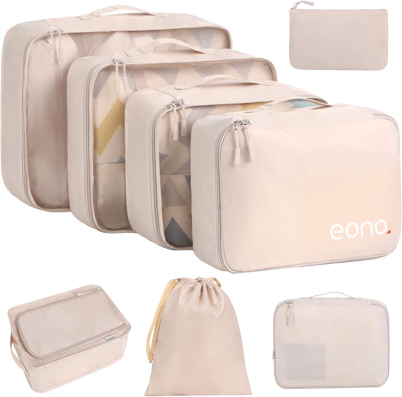 Eono by Amazon - 8 Set Cubos de Embalaje, Organizadores para Maletas, Travel Packing Cubes, Equipaje de Viaje Organizadores, con Bolsa de Zapatos, Bolsa de Cosméticos y Bolsa de Lavandería, Beige