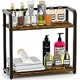 EKNITEY Spice Rack Organizer for Countertop - Bathroom counter Organizer, 2 Tier Small Spice Shelf, Standing Seasoning Rack,