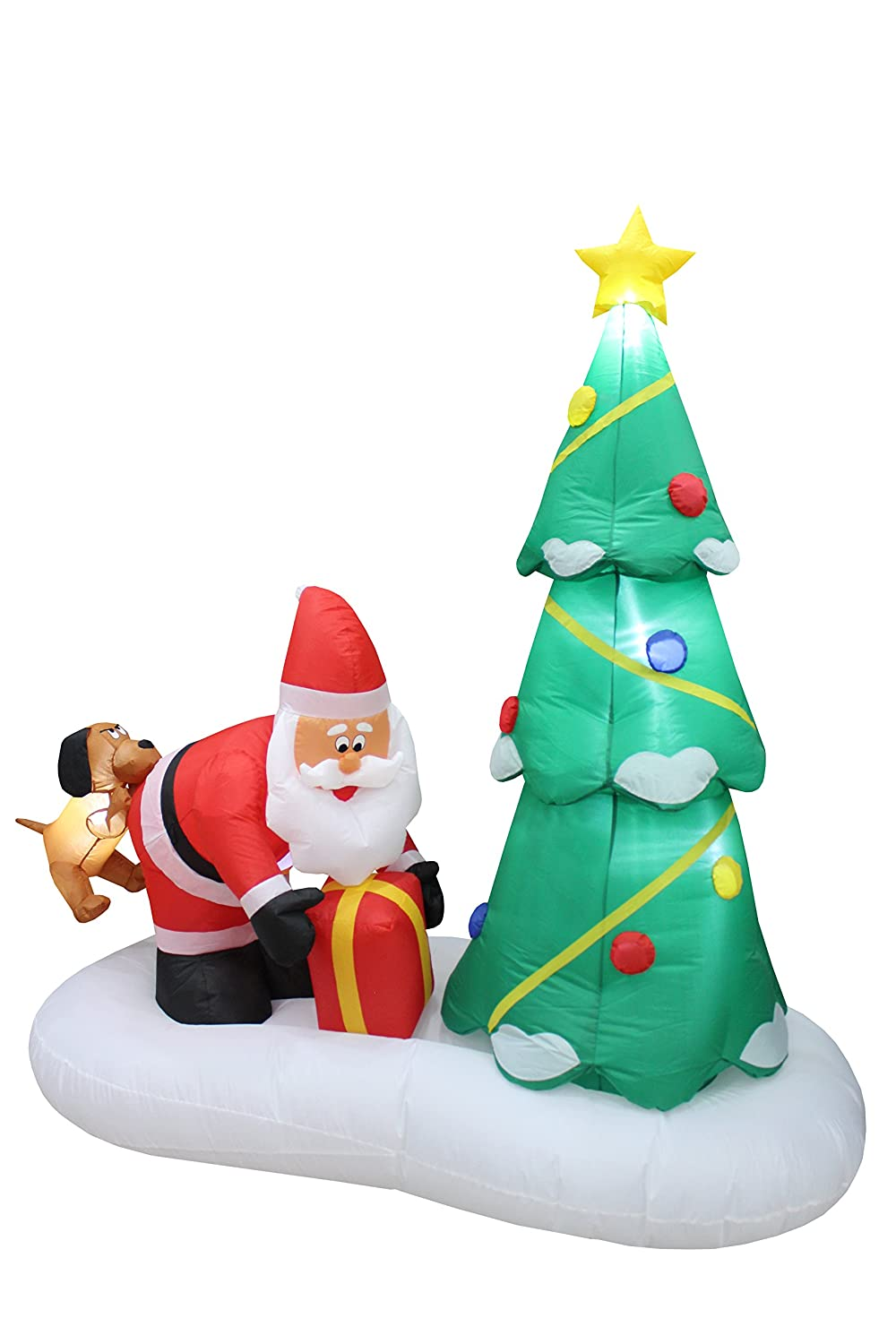 Amazon.com: 6 Foot Tall Lighted Inflatable Santa Claus and Dog with ...