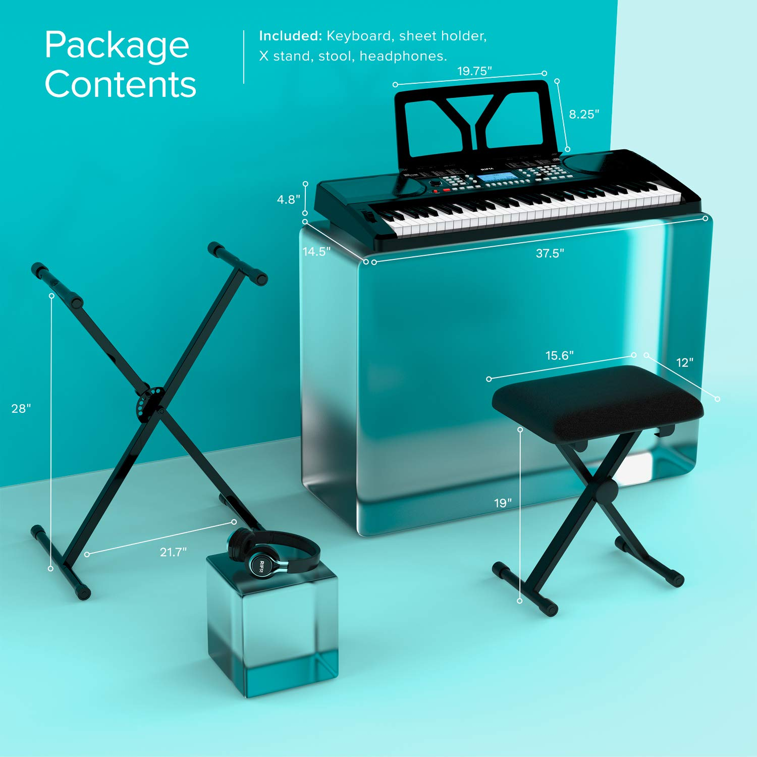 RIF6 Electric 61 Key Piano Keyboard - with Over Ear Headphones, Music Stand, Digital LCD Display, Teaching Modes and Adjustable Stool - Electronic Musical Instruments Starter Set for Kids and Adults by RIF6 (Image #2)