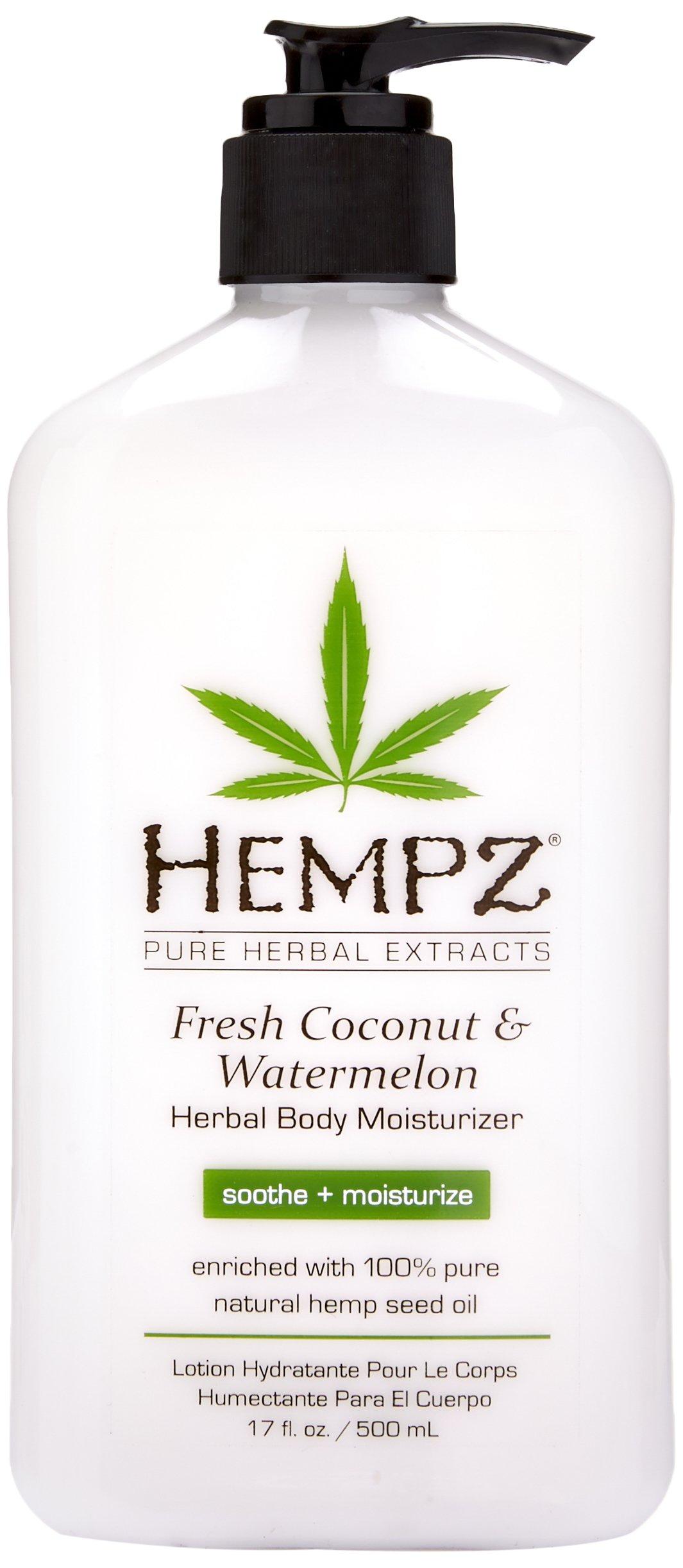 Hempz Natural Herbal Body Moisturizer: Fresh Coconut & Watermelon Moisturizing Skin Lotion, 17 oz