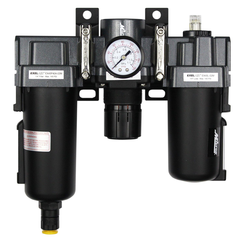 ExelAir EX45FRL40A-02M 1/4' NPT Metal FRL Air Filter Regulator and Lubricator System