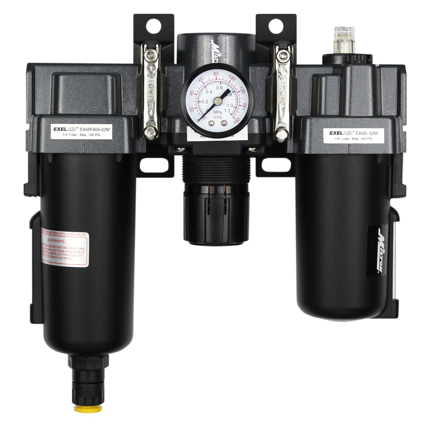 ExelAir EX45FRL40A-02M 1/4'' NPT Metal FRL Air Filter Regulator and Lubricator System by EXELAIR