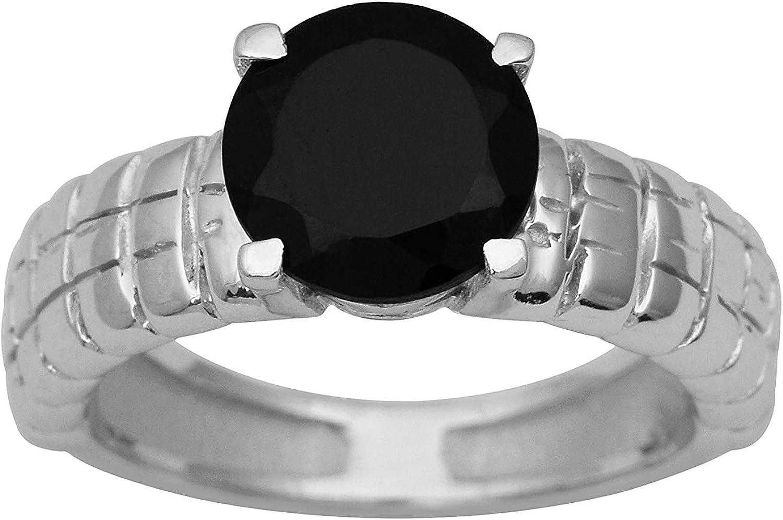 Anillo solitario de plata de ley engastado con piedras preciosas de ónix negro brillante redondo con piedras preciosas (M 1/2)