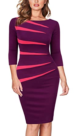 0a6a8378 FORTRIC Women 2/3 Sleeve Slim Stitching Bodycon Business Work Pencil Dress  Amaranth S