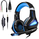 BlueFire Upgraded Professional PS4 Gaming Headset 3.5mm Wired Bass Stereo Noise Isolation Gaming Headphone with Mic and LED Lights for Playstation 4, Xbox one, Laptop, PC(Blue)