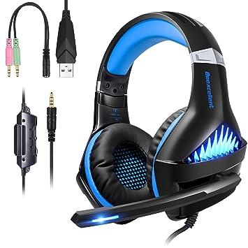 ShinePick Cascos Gaming PS4,Auriculares PS4 con Micrófono Luz LED Auriculares con Cable Reducción de Ruido Estéreo Auricular para PS4/Xbox One (Azul)