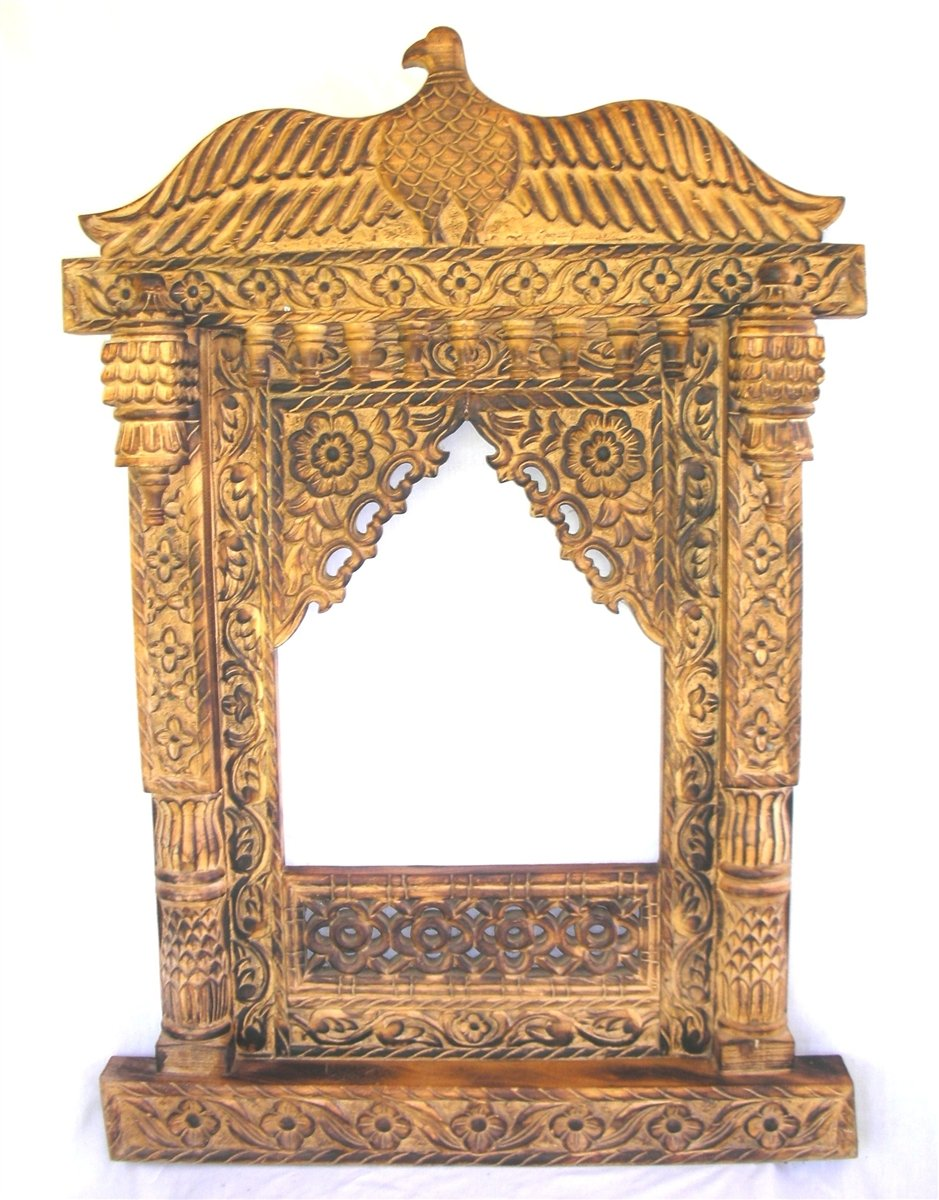 Handmade Teak Carved Peacock Wood Picture Frame Traditional India Jarokha Art