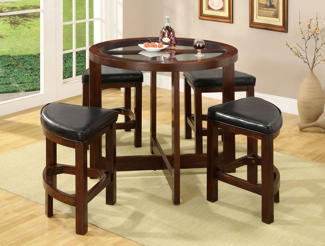 amazon com crystal cove dark walnut wood 5 pieces glass top