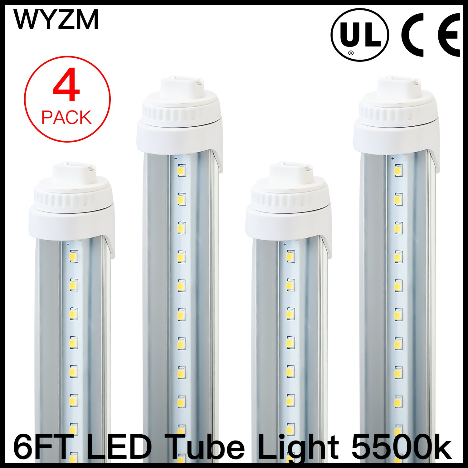 WYZM R17D 6 Feet 30w LED Tube Light Fluorescent Replacement for F72T12/CW/HO (4-pack white)