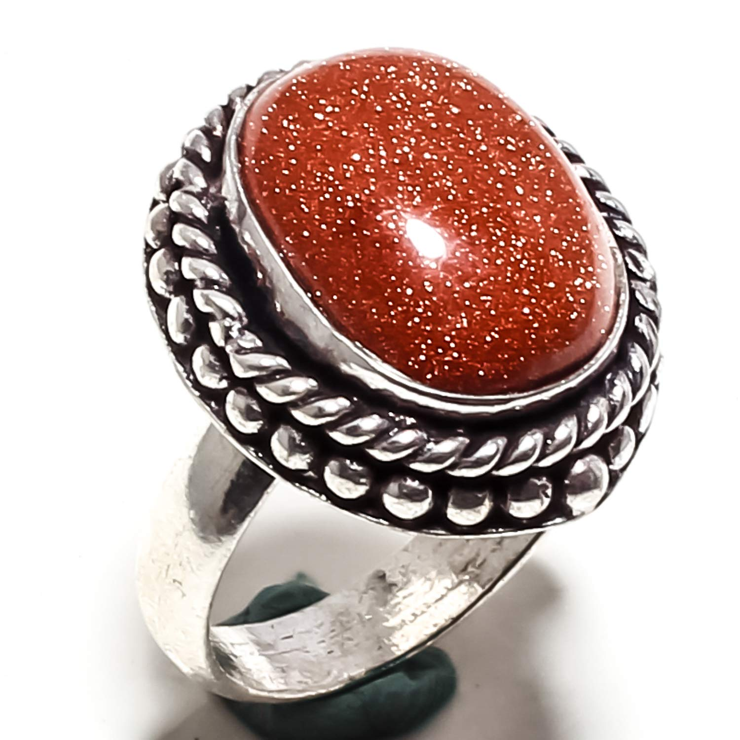 - - 6.25 jewelsworld Pretty Red Sunstone Gemstone Ring Handmade 925 Sterling Silver Plated Jewelry -Statement Ring - US SF-1907 Ring Size