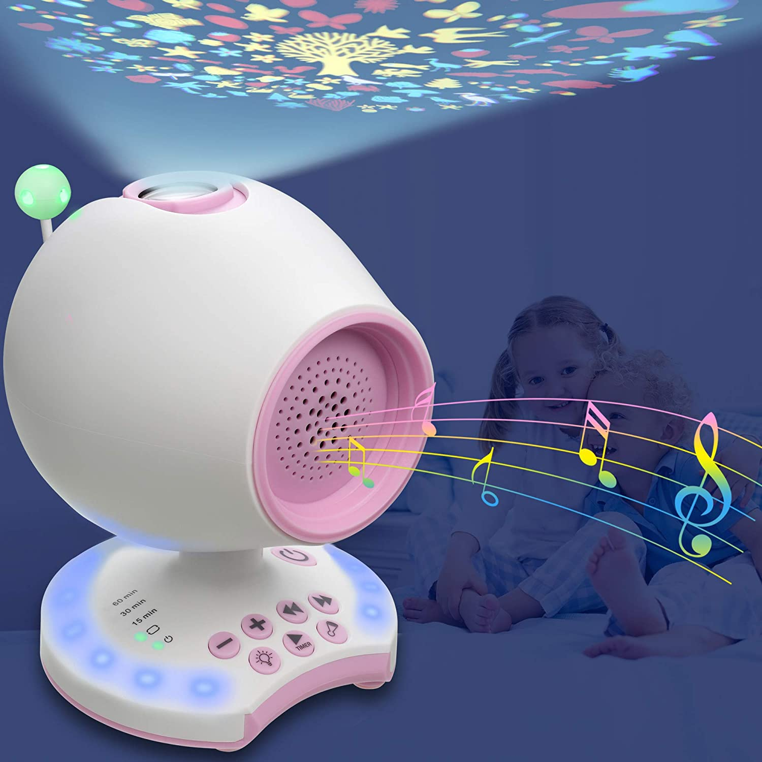 White Noise Sound Machine, Portable Slepp Therapy Soother for Baby Kids, 20 Soothing Lullaby, Ceiling Projection, 7 Colored Night Light, Auto-Off Timer, Headphone Jack, Sound Spa for Home Bedroom