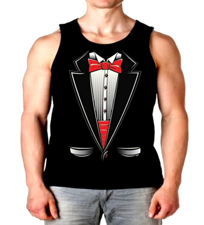 eddd4a6b3cff6 Amazon.com  Cool Tuxedo Tank Top Fake Tux Bowtie Mens Muscle Shirt S-2XL   Clothing