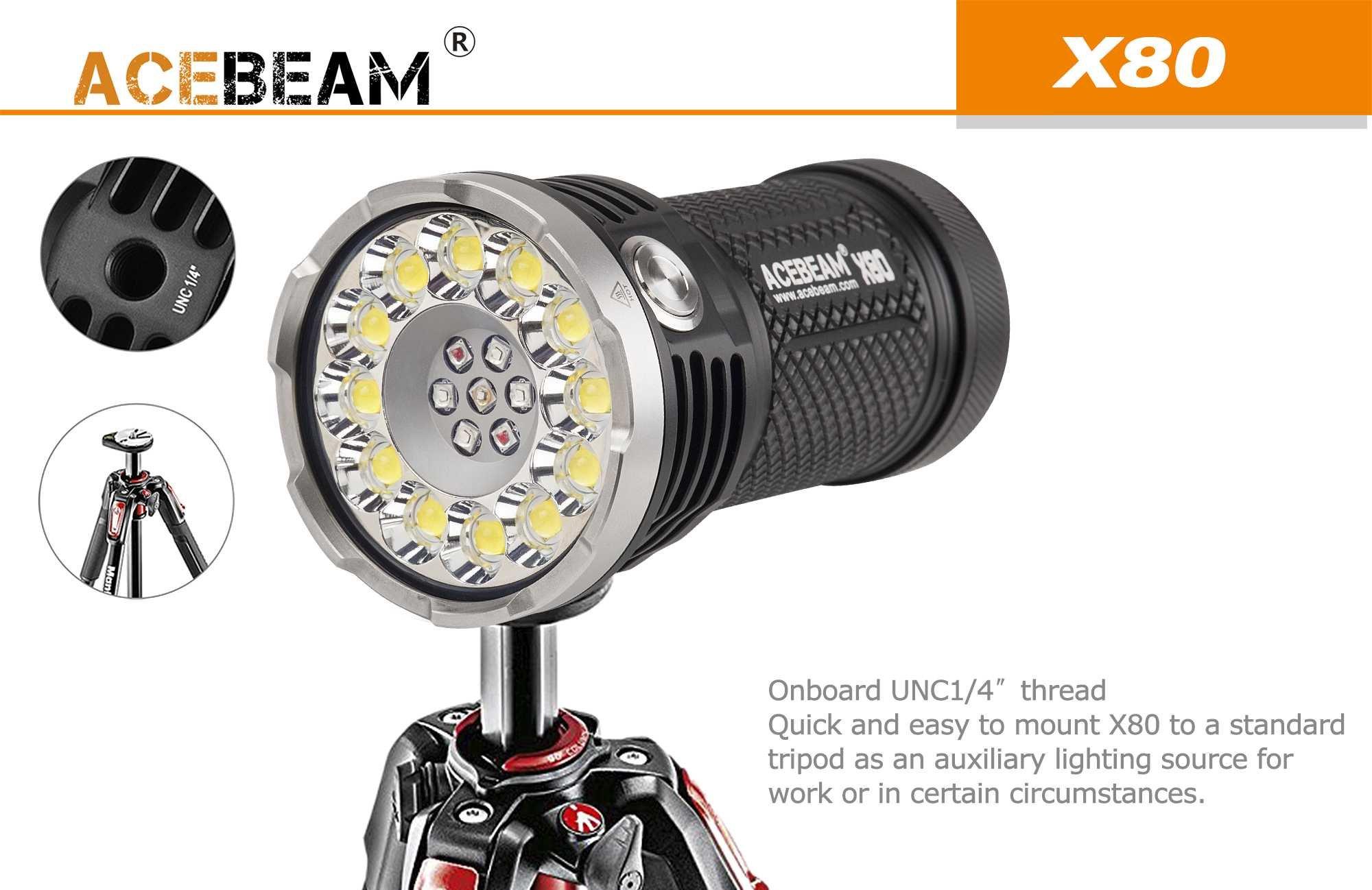 ACEBEAM X80 LED Flashlight 12x Cree XHP50.2 25000 Lumens 5-color Light Beam Flashlights Included 4 3100mah Batteries by Acebeam (Image #6)