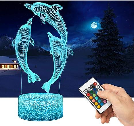 3D Nachtlicht Delphin Schreibtischlampe Dekoration Kinder Weihnachtsgeschenk