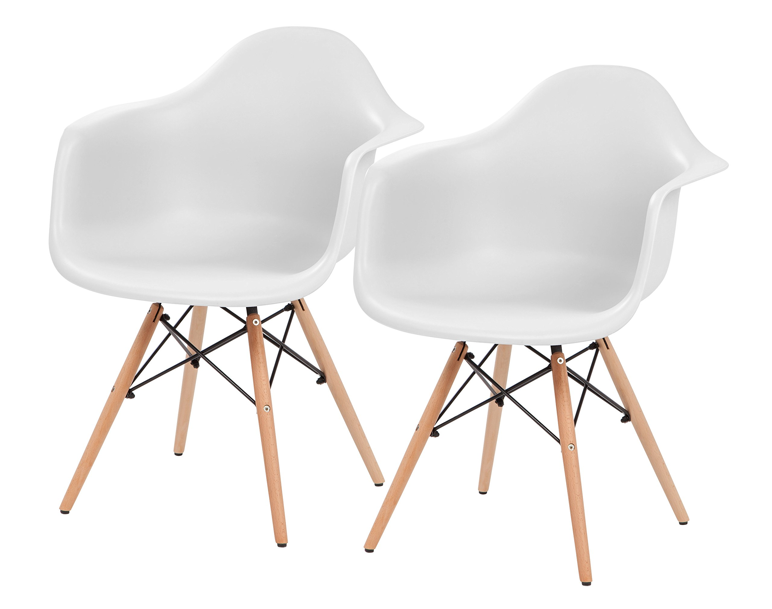 IRIS Mid-Century Modern Shell Armchair with Wood Eiffel Legs, 2 Pack, Cotton White