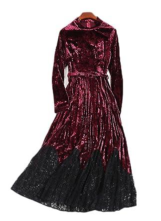 Vestido De Terciopelo Dorado Otoño E Invierno Manga Larga