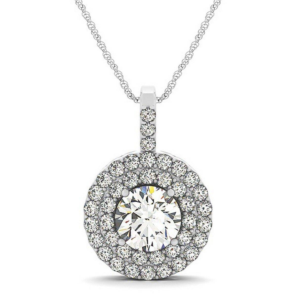97dfa6e0b6b Amazon.com  Beautiful Women s Diamond Drop Double Halo Pendant Necklace  Striking 14k White Gold (2.25ct)  Jewelry