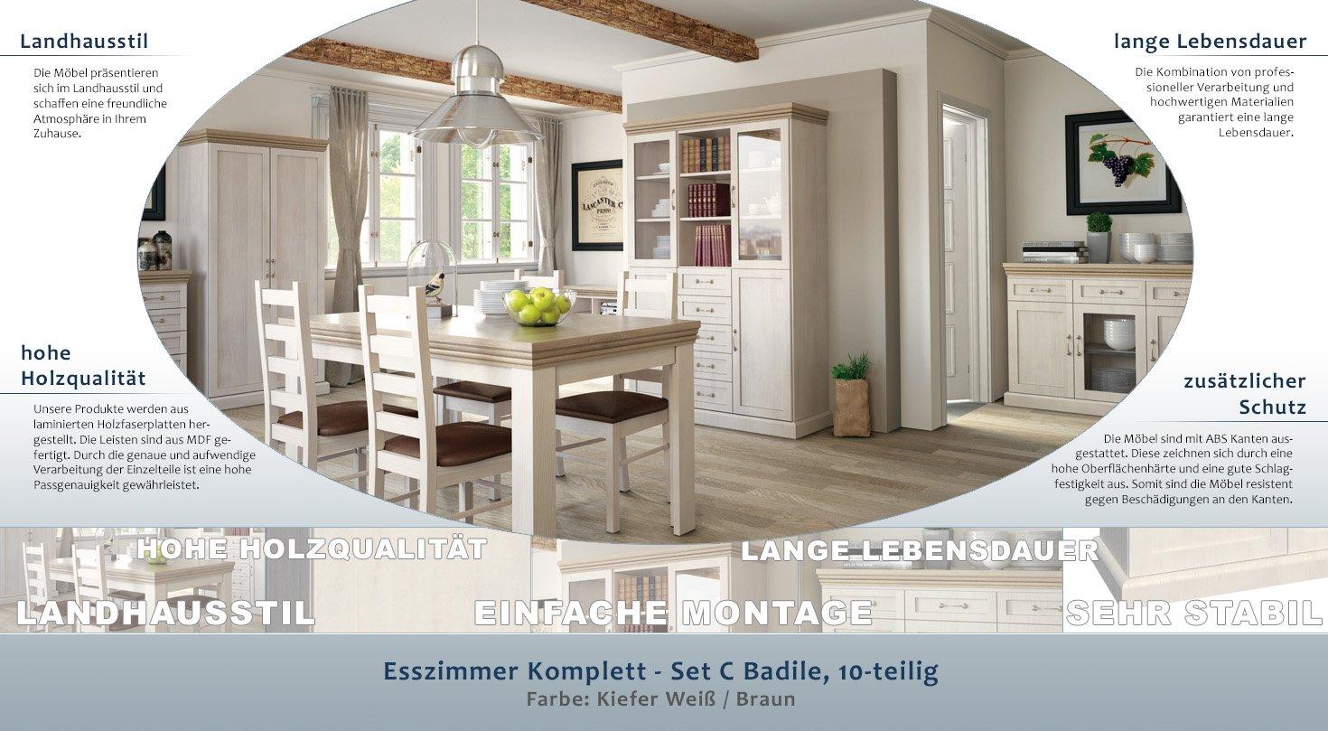 Esszimmer Komplett   Set C Badile, 10 Teilig, Farbe: Kiefer Weiß / Braun:  Amazon.de: Baumarkt