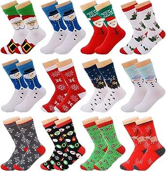 Fascigirl 12 pares Calcetines de Navidad Calcetines de invierno ...