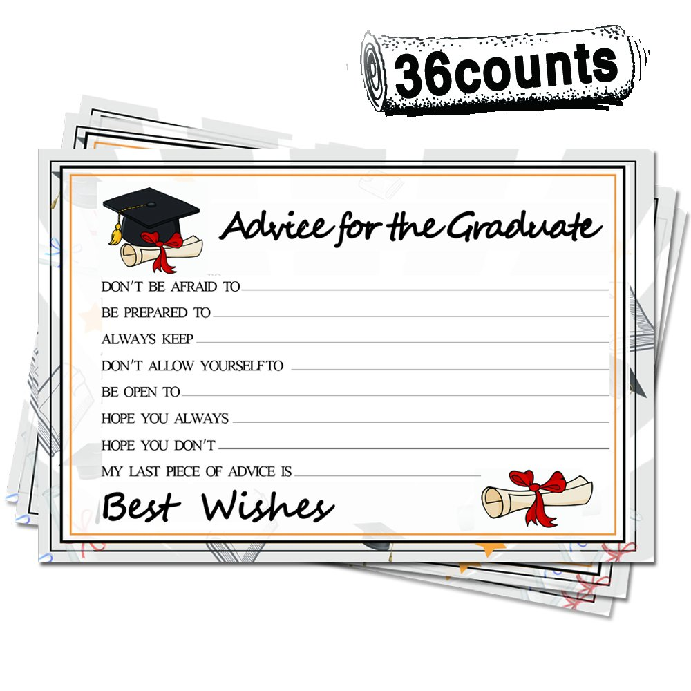 2018 Graduation Party Advice Cards-Grad Favors-36 Packs-High School or College Graduation Party Cards